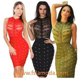 Studded Mesh Sleeveless Bandage Dress