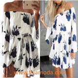 Blue Flower Print Off Shoulder Casual Mini Dress
