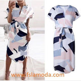 Ladies Summer Cocktail Party Long Maxi Belted Romper Dress Short Sleeve