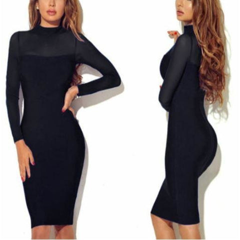 Long Sleeve Bodycon Cocktail Dress Evening Party Short Mini Dress