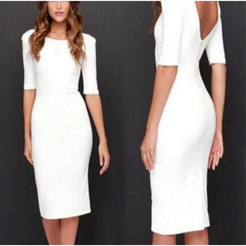 Summer Round Neck Backless Half Sleeves Bodycon Party Dress