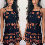 Summer Hot Ladies Floral Square Neck Strap Halter Black One-piece Mini Dress