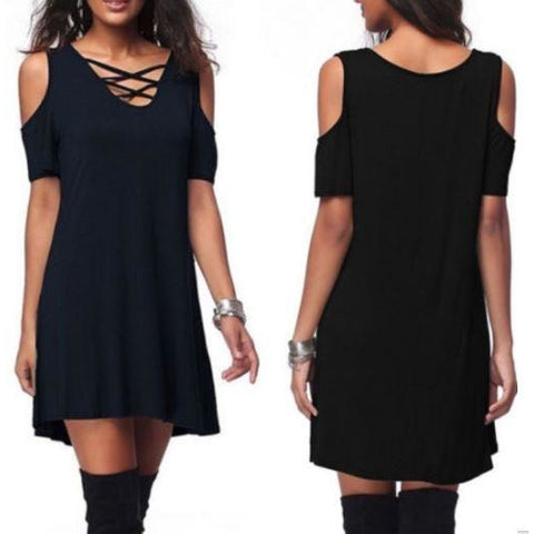 Women Summer Casual Solid Deep V-neck Lace-up Solid Loose Shirt Dress