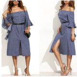 Summer Women Ladies Off Shoulder Striped Split Office Evening Party Dresses