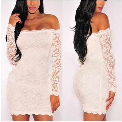 White Lace Evening Party Mini Dress