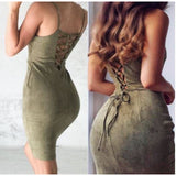 Spaghetti Strap Sexy Back Lace Slim Mini Dress Bodycon Club Party Dress