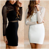 Long Sleeve Bodycon Bandage Hollow Out Club Party Cocktail Mini Dress