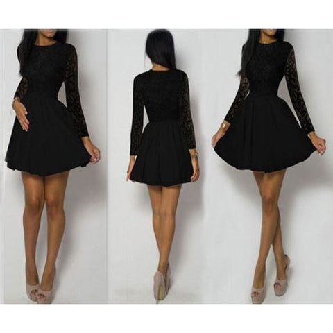 Ladies Lace Long Sleeve Cocktail Evening Party Mini Skater Dress