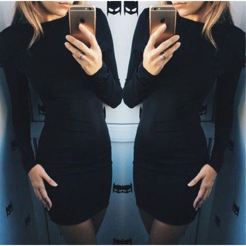 Winter Long Sleeve Knit Cocktail Party Bodycon Casual Mini Dress