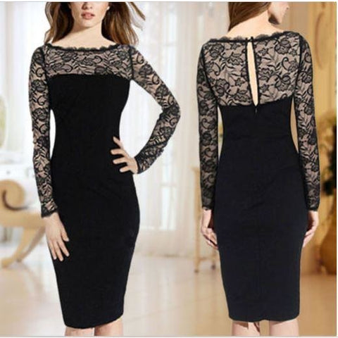 Long Sleeve Lace Slim Bodycon Cocktail Party Evening Dress