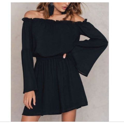 Off Shoulder Long Sleeve Evening Party Cocktail Short Mini Dress