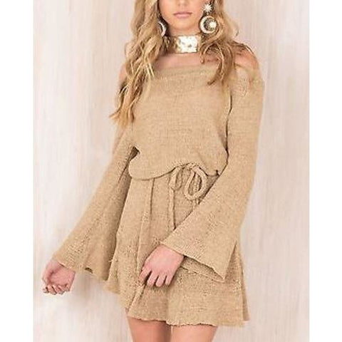 Knitted Sweater Off Shoulder Evening Party Long Sleeve Mini Dress