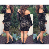 Lace Long Sleeve Bodycon Party Evening Short Mini Dress Pencil Dress