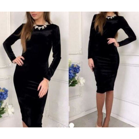 Velvet Backless Long Sleeve Elegant Bodycon Stretch Slim Dress