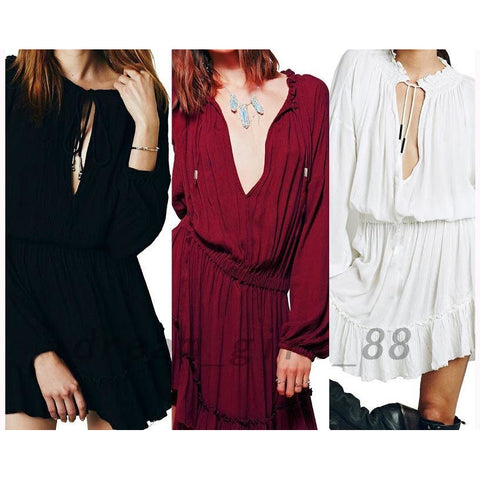 Frilled V-neck Long Sleeve Tunic Ruffle Cocktail Party Short Dress