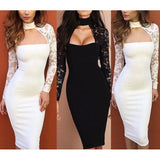 Sexy Pencil Dress Bandage Bodycon Long Sleeve Evening Party Cocktail Dress
