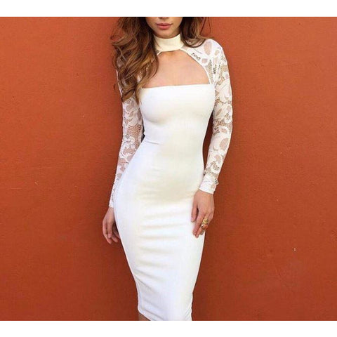 e1d553438fd Sexy Pencil Dress Bandage Bodycon Long Sleeve Evening Party Cocktail Dress