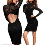 New Sexy Little Black Dress Lace Backless Mini Party Sheath Dress Clubwear