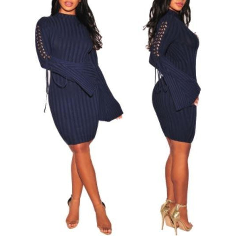 Lace-Up Bodycon Dress with Wide Cuffs