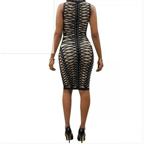 Nude and Black Print Sexy Bodycon Dress