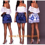 White Lace Ruffle Off Shoulder Boho Royalblue Playsuit
