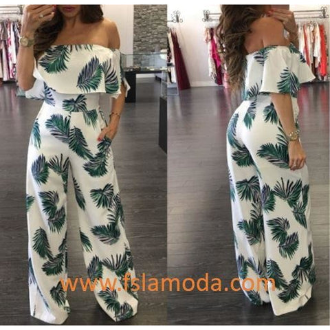 Green Leaf Print White Ruffle Off Shoulder Loose Romper