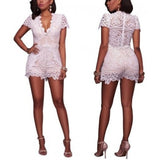 Sexy V Neck Lace Short Sleeve Jumpsuit