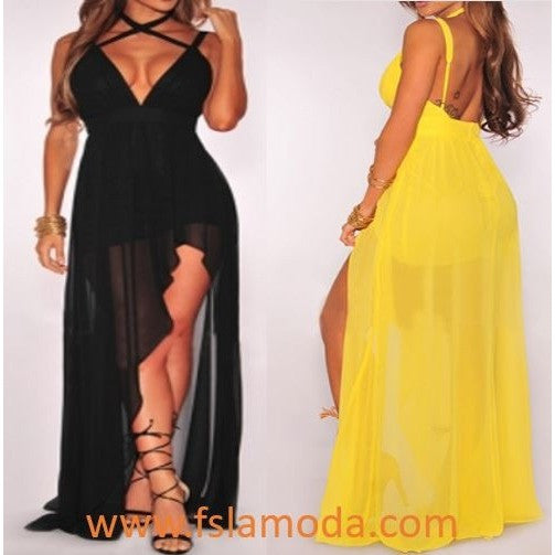 Black Or Yellow Spaghetti Strap Sleeveless Backless Asymmetrical Chiffon Dress