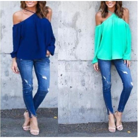 Off-Shoulder Green Chiffon Halter Tops
