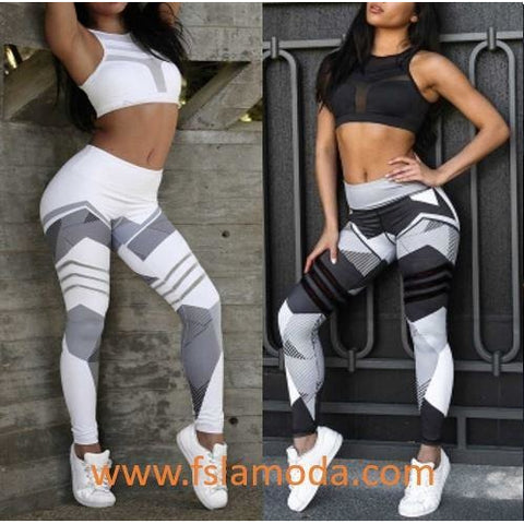 Gray Stripes Print Running Fitness Leggings