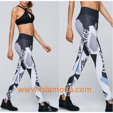 High Waist Gray Pattern Print Yoga Sport Leggings