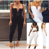 Stylish Solid Waist Tied Strappy Tight Jumpsuit