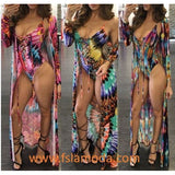 Colorful Lace-up Monokini with Cardigan