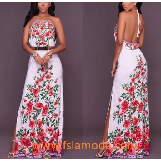 Flower Print Halter Backless Long Maxi Dress