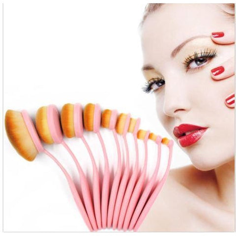 10 pcs/Set Pink Toothbrush Oval Makeup Brushes Cream Foundation Powder Eyeshadow