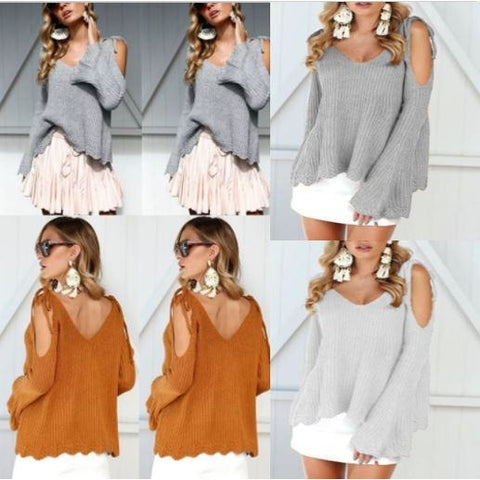 V-Neck Knitted Sweater Oversized Long Sleeve Loose Tops Knitwear