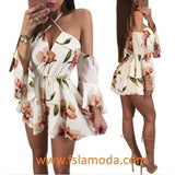 Sexy Flower Print Halter Rompers with Sleeves