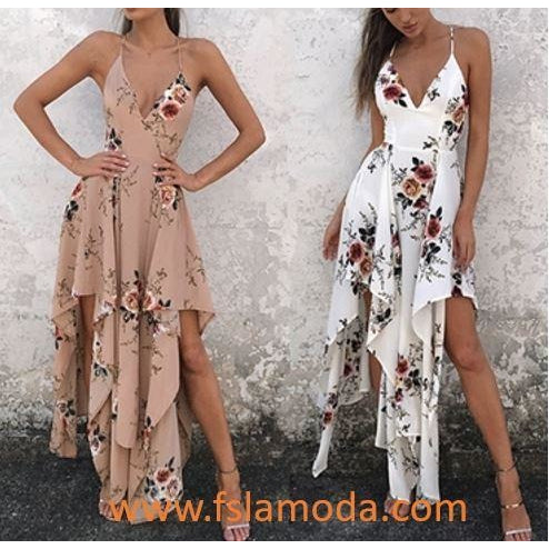Floral V-neck Straps Irregular Dress