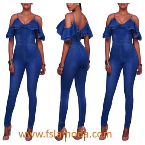 Washing Out Straps Denim Jumpsuit with Ruffles