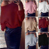 Shoulder Knitted Sweater Long Sleeve Loose Baggy Jumper Tops Knitwear