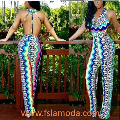 Sexy Backless Print Jumpsuit