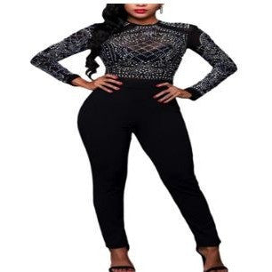 Black Long Sleeves Rhinestone Mesh Bodice Formfitting Jumpsuit
