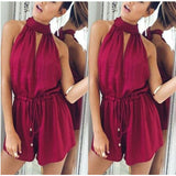 Casual Clubwear Playsuit Bodycon Jumpsuit/Romper Trousers Wine Red