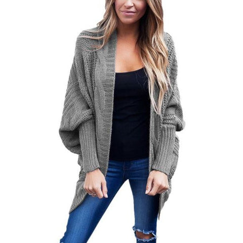 Ribbed Cuffs Dolman Sleeved Cardigan Sweater