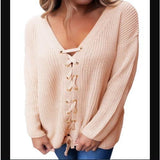 Sexy V Neck Lace up Front Sweater