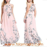 Summer  Chiffon Sexy Boho Floral Long Maxi Dress Ladies Evening Party Beach