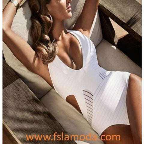 Sexy Halter Bandage Monokini Swimwear Cut-Out One-Piece Bikini Swimsuit