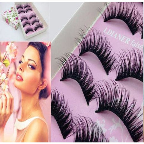 5 Pairs Black Long Natural False Eyelash Makeup Thick Soft Eye Lashes Extension