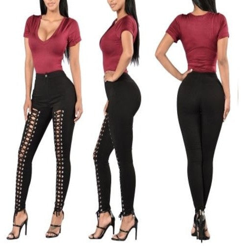 Women Black Bandage Front Lace-up High Waist Pants
