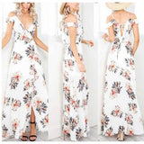 Ladies Short Sleeve Backless Long Lotus Leaf Printing Party Dress